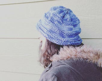 Hat, beanie hat, winter fashion, chunky Christmas blue slouchy hay, women's holiday gifts, skier gifts, skiing hats, Ready to ship