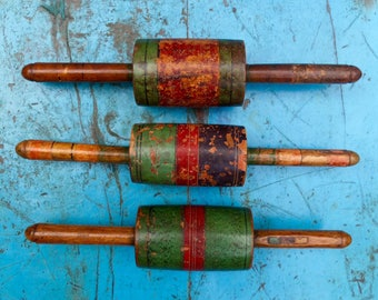 Three Antique Indian Hand Painted Wooden Chapatti Rolling Pins