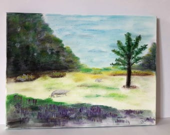 Pastoral Scene, Landscape Painting,Artwork on Canvas, Handpainted by Artworkbychristina.