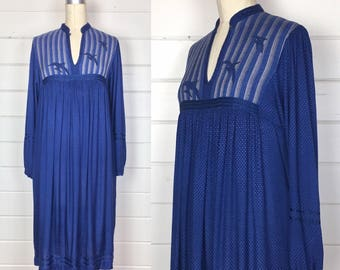 Vintage 1970s Midnight Blue Indian Rayon Dress / Bird Appliqué / Made by Ishwar / Bohemian