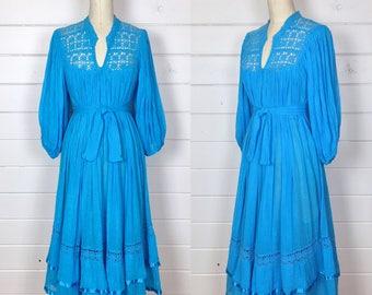 R e s e r v e d Vintage 1970s Bright Turquoise Gauze Cotton Dress / Crochet Trim / Poet Sleeve / Bohemian / Gypsy