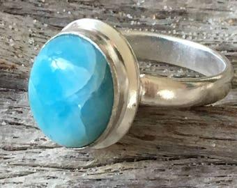 Caribbean Larimar Silver boho ring