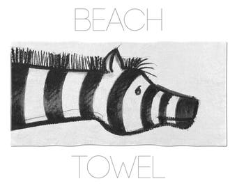 Black And White Zebra Towel, Animal Illustration, Kids Towels, Summer Towel, Beach Towels, Towels Online