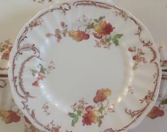 """Five (5) Royal Doulton CHILTERN 10"""" Dinner Plates - Polychrome Transferware - From the Original Brownfield Engravings - England"""