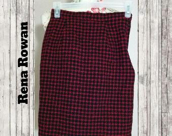 Vintage Rena Rowan Houndstooth Skirt Size 2P