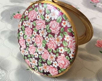 Kigu compact mirror vintage compact pink roses powder compact 1960's compact 1970s handbag mirror flapjack  compact makeup mirror