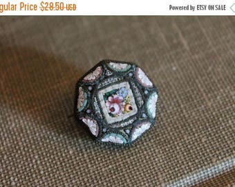 """Christmas in July Antique Micro Mosaic Pink Rose 1"""" Pin or Brooch"""