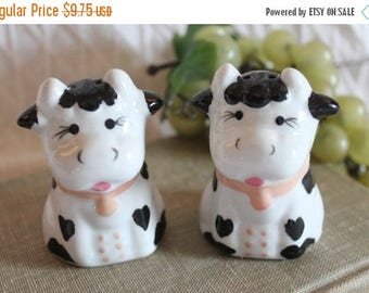 SALE Ceramic Black and White Holstein Cow Salt and Pepper Shaker Set