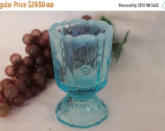 SALE Fenton Blue Opalescent Paneled Daisy Art Glass Footed Toothpick Holder
