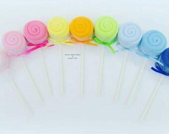 Washcloth Lollipop, Baby Washcloth, Baby Shower Decoration, Baby Boy Gift, Boy or Girl Baby Shower Decoration, Baby Washcloth