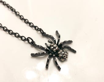 Spider Charm Necklace with Crystals