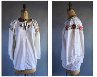 1970's Embroidered Folk Blouse