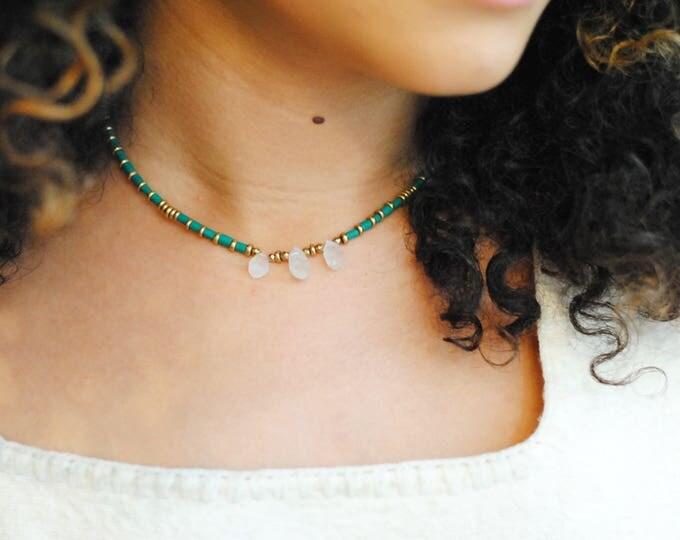 Moonstone and Malachite Choker Necklace, Delicate Gemstone Necklace, Moonstone Necklace, Gemstone Choker, Dainty Necklace, Dainty Choker