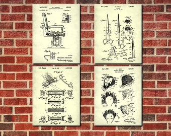 Salon scissors blueprint hairdresser patent print poster salon hair salon wall art hairdressing patent prints set 4 hairdressing posters hairdresser gifts malvernweather Image collections