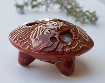 "Flower ""Pillow"" Vase - Pacific Northwest Fish motif in firebrick red glaze, Modern Home Decor"