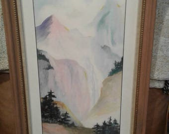 Vintage Impressionist Watercolor/ Signed  By Flagstaff, Arizona Artist/ PINE Trees/ Mountains