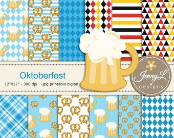 50% OFF Oktoberfest Digital Paper, Beer Clipart, Pretzels for Digital Scrapbooking, Invitations, Planner
