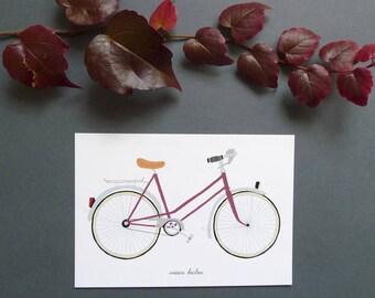 """postcard with """"Burgundy"""" vintage bicycle"""