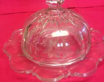 Pressed Glass Covered Butter Dish