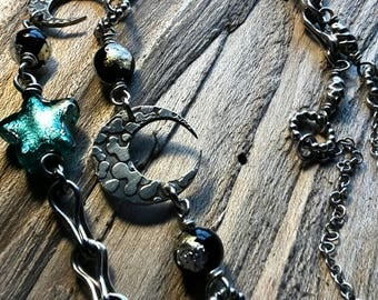 Etched moons and Murano glass with handmade chain