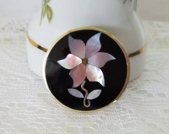 Vintage Onyx and Mother of Pearl Flower  Alpaca Mexico Silver Brooch