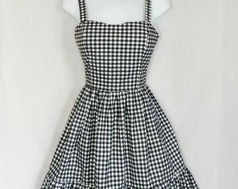 Lolita black and white gingham dress