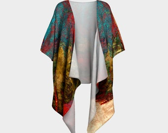 Circles of Color Draped Kimono Robe Abstract Art Printed Open Wrap Loose top Womens Long Top Summer clothes Beach Wrap Robe Nursing Mom Love