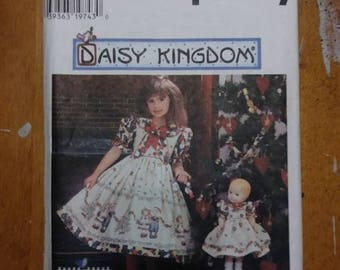 SIMPLICITY 0697, Daisy Kingdom, sewing pattern, girls, child, size AA, 3, 4, 5, 6, sewing, pattern, pinafore, dress, doll