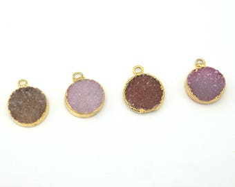 Druzy Pendant | 24k Electroplated Gold Druzy Pendant | 16mm Round Druzy Pendant with Hoop | Summer Druzy