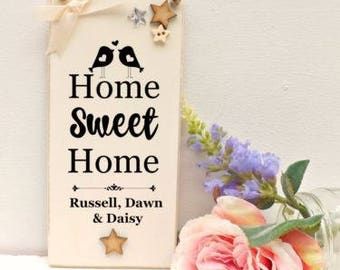 Personalised Home Sweet Home Sign House Warming Gift, New Home Plaque 9x19cm