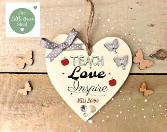 Teacher Gift Plaque Thank you Heart Personalised Keepsake Gift