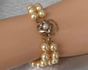 Double Strand Glass Pearl Bracelet, 2 Tone Sterling Gold Clasp and Rhinestone Spacer Bars