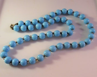 Turquoise Glass Bead Necklace, Art Deco, Robins Egg Blue