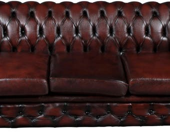 Vintage Red Leather Chesterfield Sofa Couch