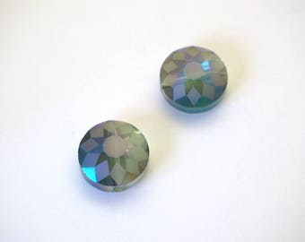 2 beads round faceted blue/green 14mm Crystal Sun