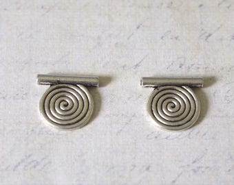 2 beads tubes and ornate silver-plated 13x14mm spiral