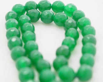 faceted jade green 4mm 10 beads