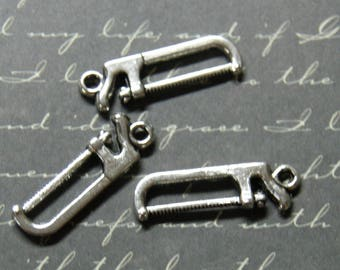 3 charms in silver metal saw 26 x 7, 5mm