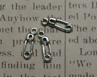 3 charms 12x6mm silver metal safety pin