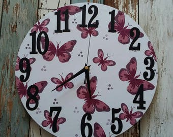 Butterfly clock, butterflies, clock, handmade clock, handmade, large numbers, home decor, girls room, teenager, pretty clock,colourful