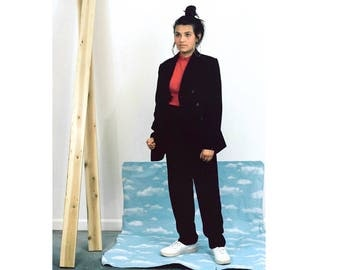 90s Classique Black Suit / Double Breasted Blazer x High Waisted Pants/ Small