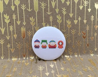 south park, stan, cartman, kenny and kyle1.5 inch pin back button, 37 mm pin back button