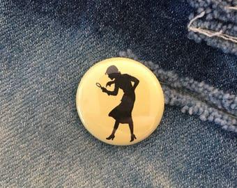 Nancy Drew button, Nancy Drew pin, 1 inch pin back button, Nancy Drew, Girl Detective