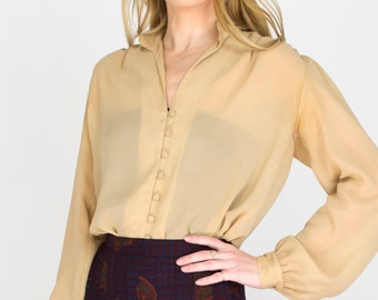 Vintage 1980s Blouse Beige Collared Rouleau Button Down Lightweight Long Sleeve Blouse Size Small/Medium