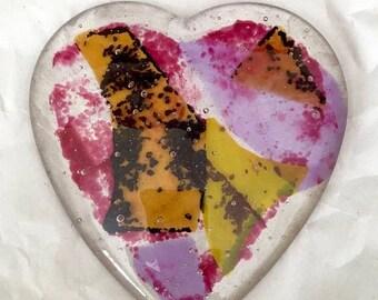 Presidential Savings Fused Art Glass Heart Paperweight Modernist Romance