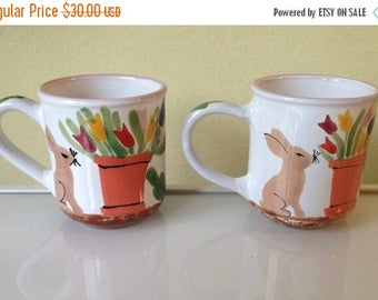 Presidential Savings Hand Painted Easter Bunny Rabbit Starbucks Coffee Cups Made in Hungary