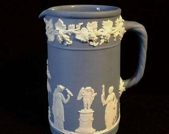 "Presidential Savings Wedgwood Blue Jasperware Creamer or Small Pitcher 4 5/8""H"