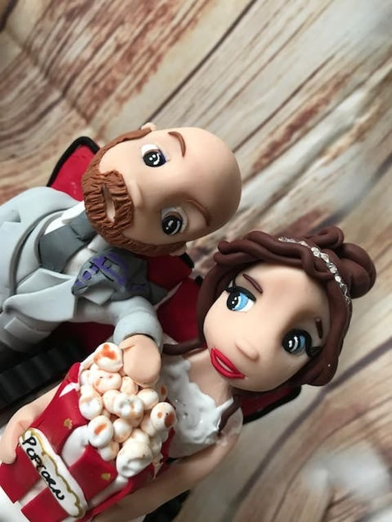 Wedding cake Topper cinema/Movie lovers Fully Personalised a lovely keepsake - Bride and Groom/Same Sex/Wedding couple