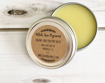 Organic Baby Bottom Salve - Vegan Salve - Diaper Rash Cream - Healing Salve - Calendula - Chamomile - Lavender - Salve