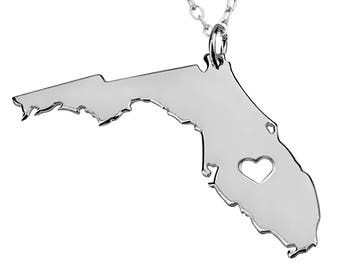 Heart Florida State Necklace, State of Florida Necklace,Any State Necklace,Florida Pendant,Any Name Engraved,Fl State Necklace With A Heart